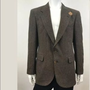 Evan Picone Brown Tweed Wool Sport Blazer Size 41L